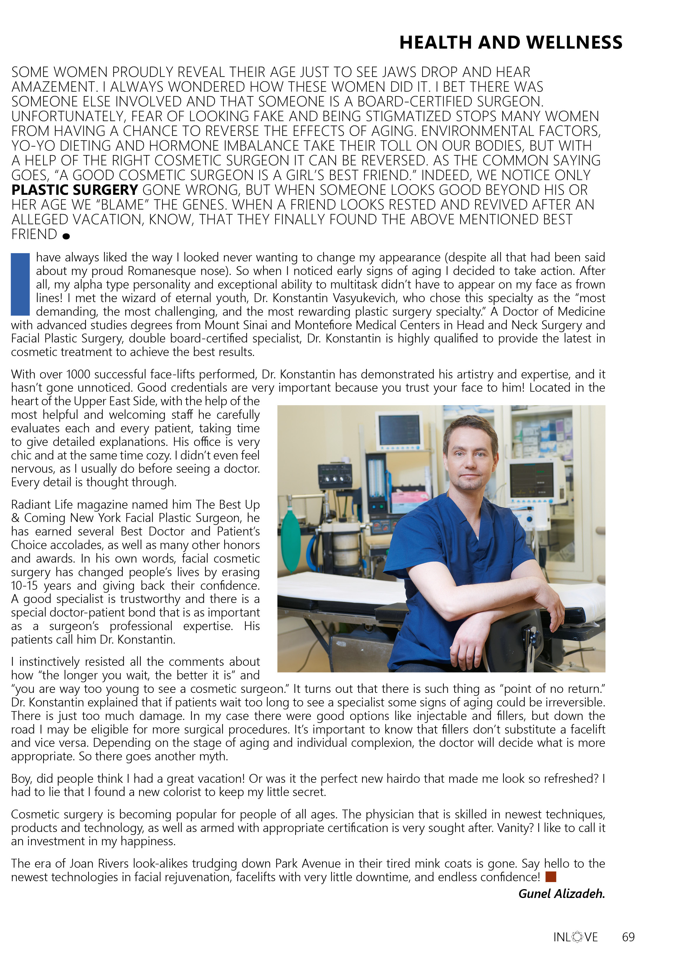 Dr. Konstantin featured in the In Love magazine